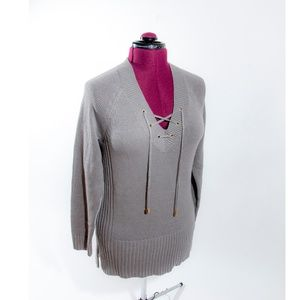 Gray LaceUp Knit Sweater